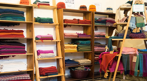 showroom selling handwoven wool and pashmina shawls and stoles