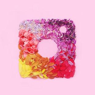 Instagram floral  logo on pink backgroun