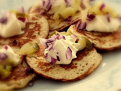 Blini with red onion