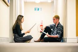Millie Davies and Adam Evans in Showcase 2018 rehearsals