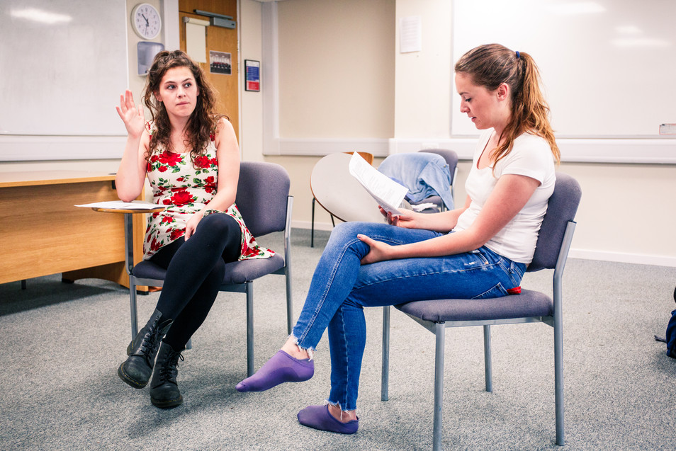 Rosalie Minnitt and Rebecca Cadman in Showcase 2018 rehearsals