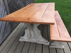 farm-style table and bench