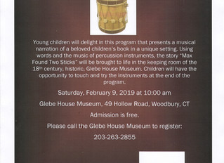 February 9: A WBSO Musical Readers Program at the Glebe House Museum