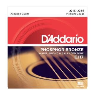 EJ17 Phosphor Bronze Acoustic Guitar Strings - .013-.056 Medium - D'addario
