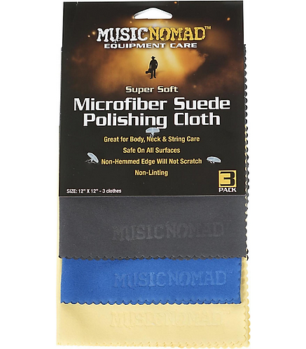 Microfiber Suede Polishing Cloth - 3 Pack : MusicNomad