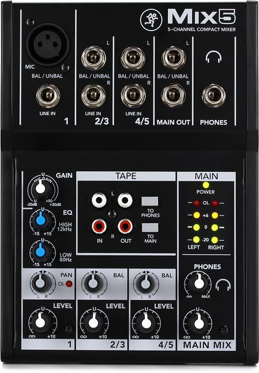 Compact Mixer With Five Channels : Mackie