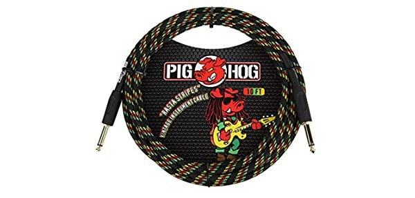 10ft Instrument Cable Rasta Stripes : PigHog