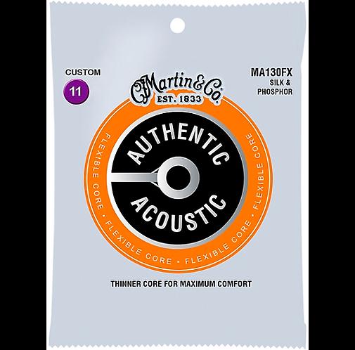 Authentic Flexible Core - Silk & Phosphor Custom Light Acoustic Strings : Martin