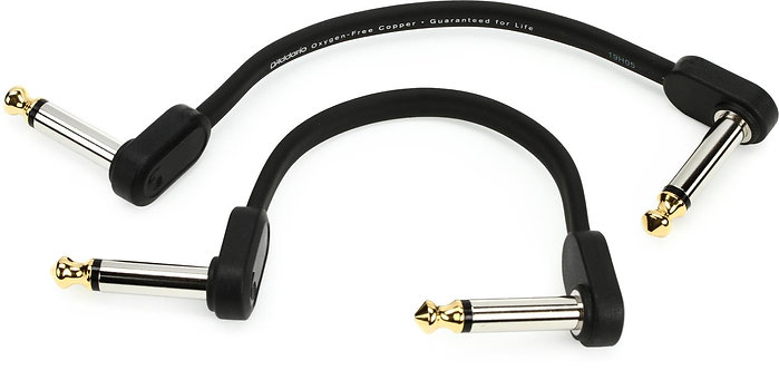 Right Angle to Right Angle Flat Patch Cable - 4 inch - D'addario