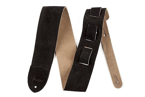 "Fender : ""F"" Suede Black Guitar Strap"