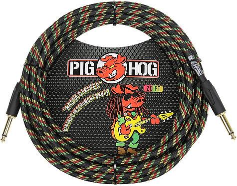 20ft Instrument Cable Rasta Stripes : PigHog