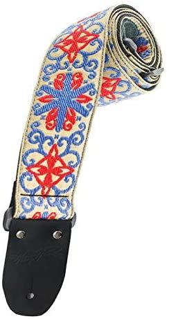 Vintage Style Guitar Strap - Floral Blue Red : Heller