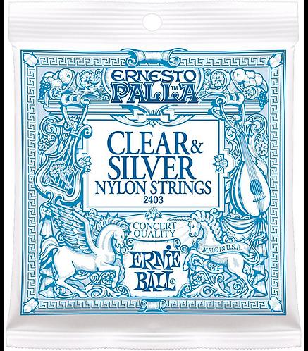 2403 Ernesto Palla Clear & Silver Nylon Classical Strings : Ernie Ball