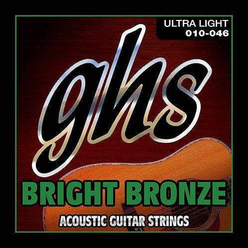 BB10U Bright Bronze - 80/20 Bronze Ultra Light Acoustic Guitar Strings : GHS