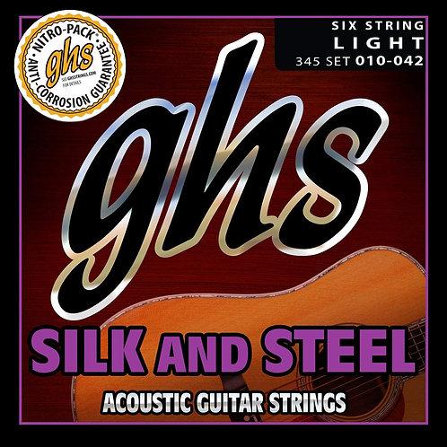 345 Silk and Steel Acoustic Guitar Strings Light 10-42 : GHS