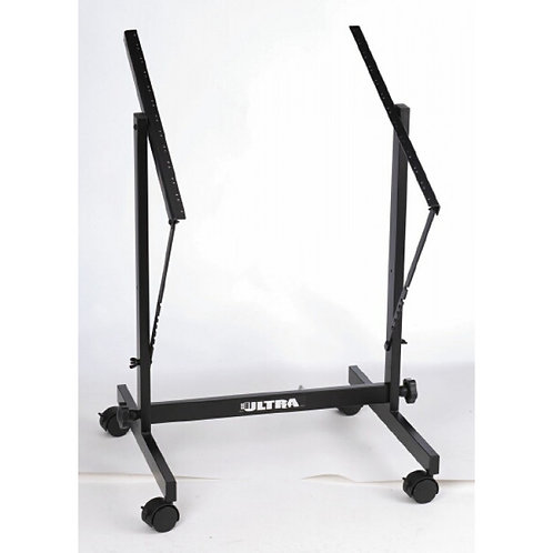 Ultra : Rolling Adjustable Black Rack Mount and Mixer Stand