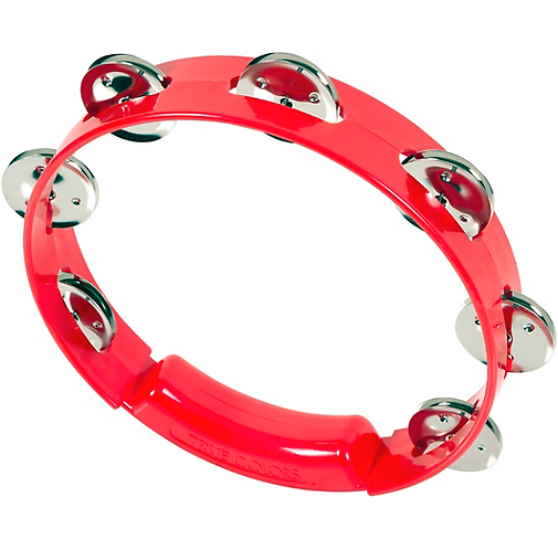 True Colors Tambourine 8 in. - Red : Rhythm Tech