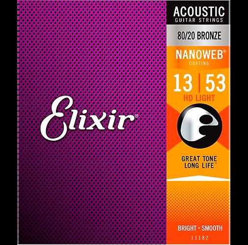 11182 Nanoweb Coated HD LT 80/20 Bronze Acoustic Guitar 13-53 : Elixir