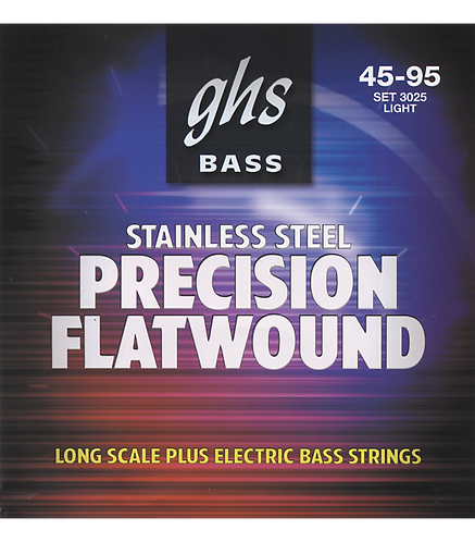 3025 Precision Flats Stainless Steel Light Bass Strings 45-95 : GHS