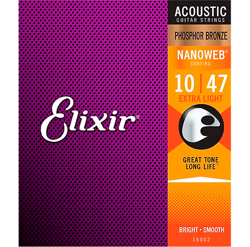 Nanoweb Phosphor Bronze Acoustic Guitar Strings - .012-.053 Light : Elixir
