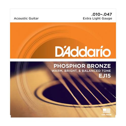 EJ15 Phosphor Bronze Acoustic Guitar Strings - .010-.047 Extra Light - D'addario