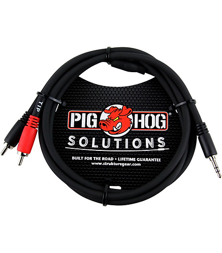 3ft 3.5 mm to Dual RCA Stereo Breakout : Pig Hog