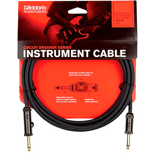 15' Circuit Breaker Series Instrument Cable with Auto Switch: D'addario
