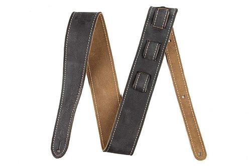 Fender : Road Worn Series Black Leather Guitar Strap