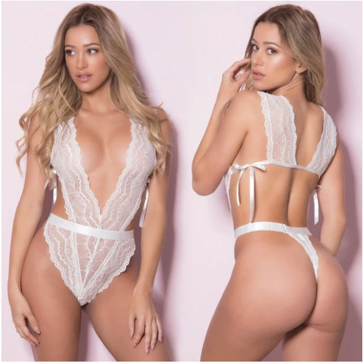 Soft Lace Teddy With Side Ties and Thong Back White O/S
