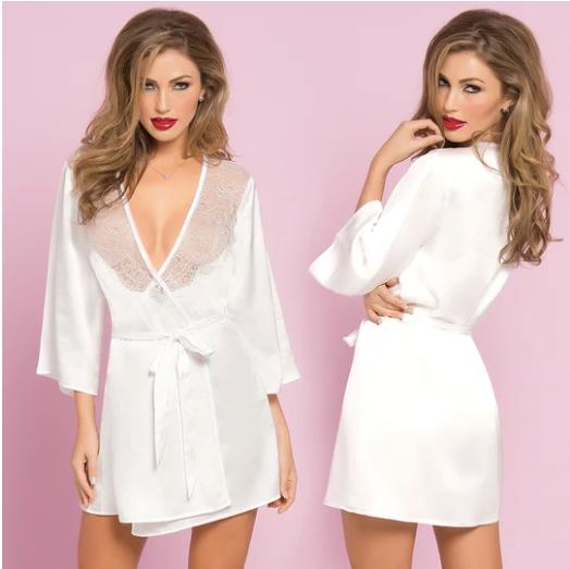 Satin & Eyelash Robe One Size White