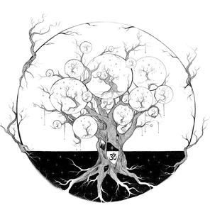 Černobílá propracovaná ilustrace