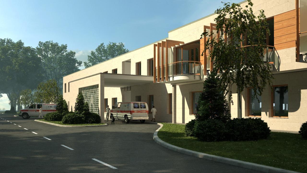 Diagnosztikai épületszárny képe Dél-Nyugati irányból