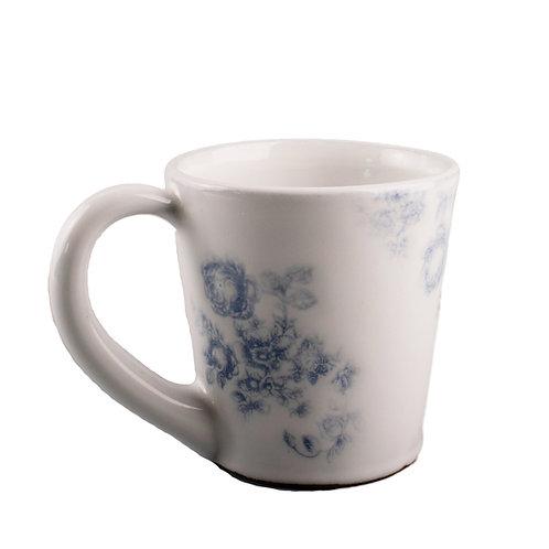 Vintage Blue Floral Coffee Cup