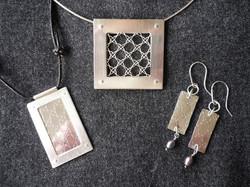 Silver pendants and earrings