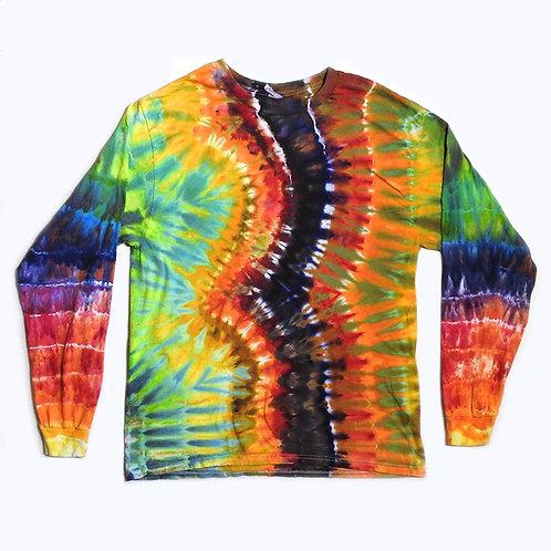 Rainbow Wave Tie Dye Long Sleeve - Size: L