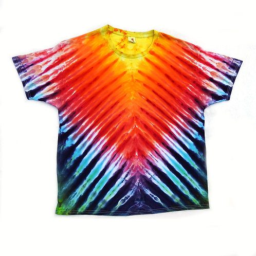 Bright Rainbow Stripe Vee Tie Dye - Size:XL