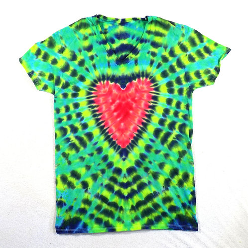 Bright Heart Red and Green - Size: M (V-Neck)