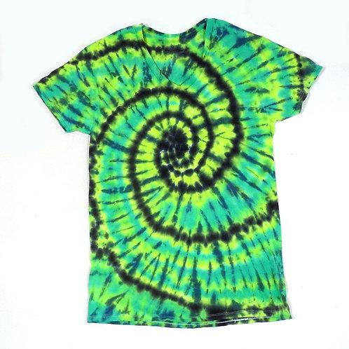 Green Spiral - Size: Sm (V-Neck)