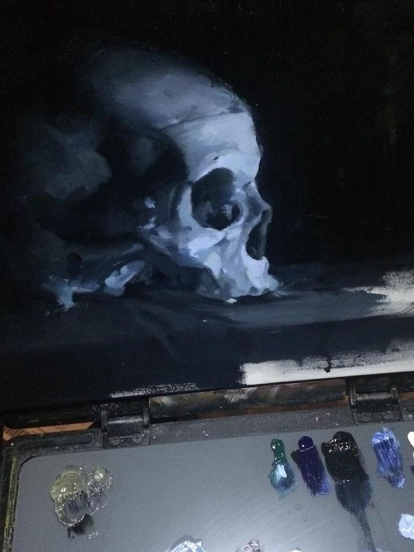Painting. Skull in Blue