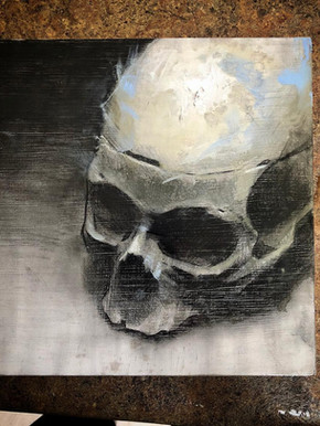Charcoal/Painting. Skull w/ Blue