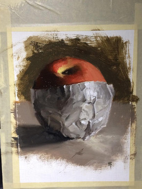 Painting. Apple in Foil