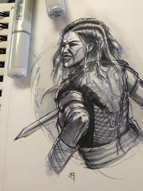 Pen/Marker. Warrior Girl