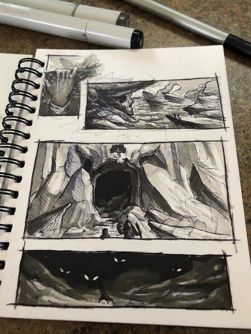 Pen/Charcoal. Comic 2