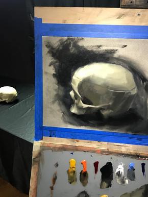 Painting. Life Sketch Skull