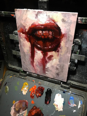 Painting. Bloody Lips