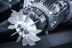 Modern electric motor fragment, blue ton