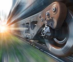 Industrial rail train wheels closeup tec