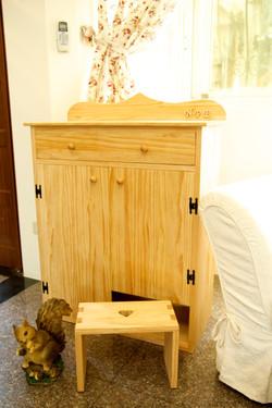 原木穿鞋櫃+椅