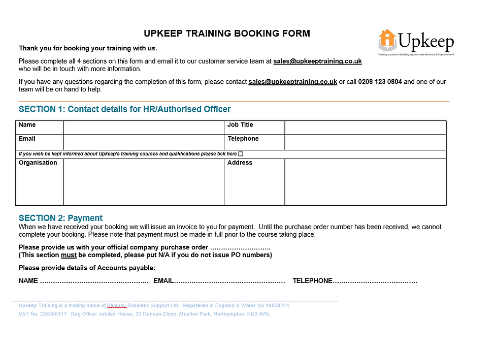Upkeep Training Booking Form