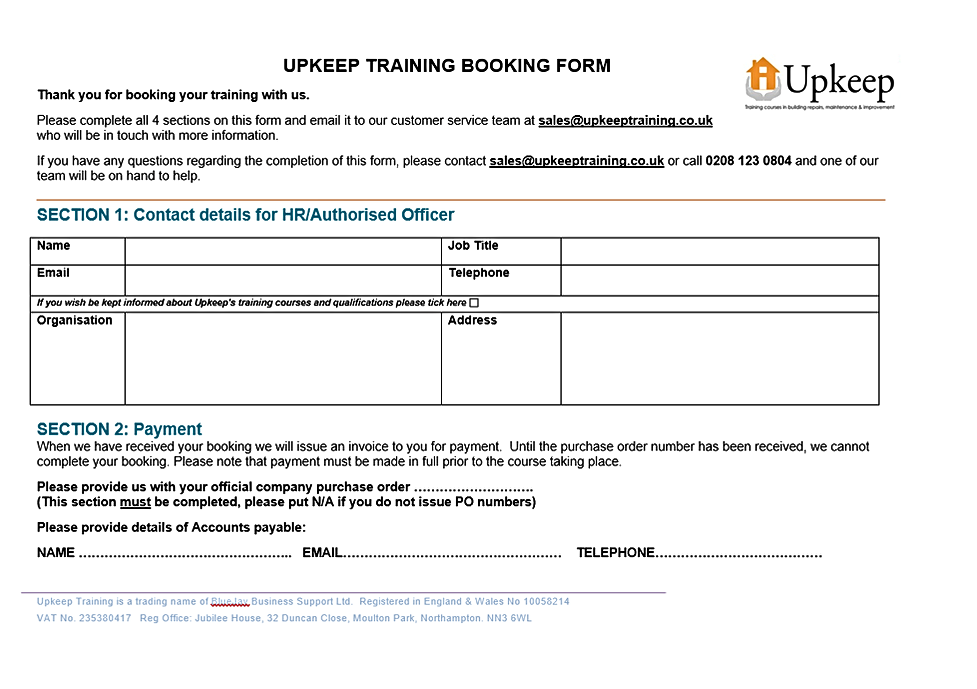 Upkeep Training Booking Form